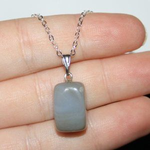 Natural NwoT Gray Chalcedony Stone necklace 16""